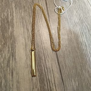 Minimalist gold bar necklace 14k over Sterling Sil